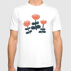 Red Blooms White Mens Fitted Tee SMALL