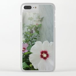 Morning Mist Hibiscus Flowers Clear iPhone Case
