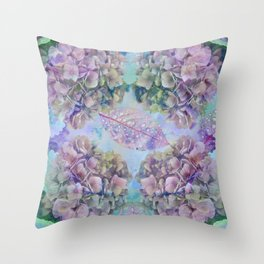 Watercolor hydrangeas and leaves Throw Pillow