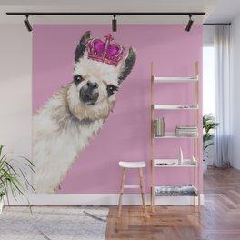 Llama Queen in Pink Wall Mural