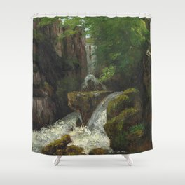"Gustave Courbet ""Cliffs and waterfalls (Falaises et cascades)"" Shower Curtain"