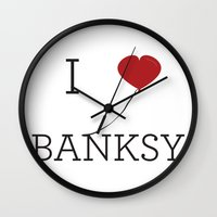 banksy Wall Clocks featuring I heart Banksy by Simple Symbol