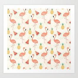 Watermelon Flamingo Pineapple Art Print