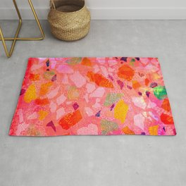 Sea Glass Abstract Pattern in Pink Rug