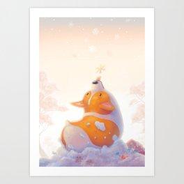 Corgi and Snowflakes Kunstdrucke