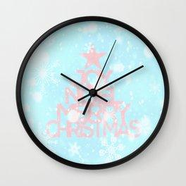Joy, Noel, Merry Christmas and Star pattern - pink on aqua Wall Clock