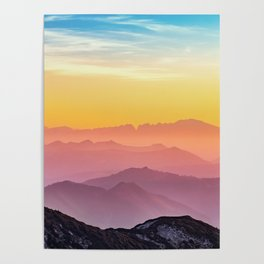 MOUNTAINS - LANDSCAPE - PHOTOGRAPHY - RAINBOW Poster