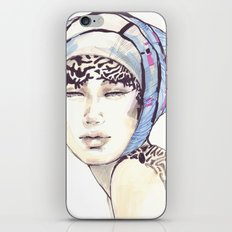 Woman portrait with blue turban iPhone & iPod Skin