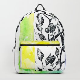 rainbow floral watercolor Backpack