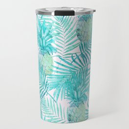 Turquoise Palm Leaves and Pineapples on Pink Travel Mug
