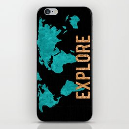 World Map - Teal and Copper Explore Globe iPhone Skin
