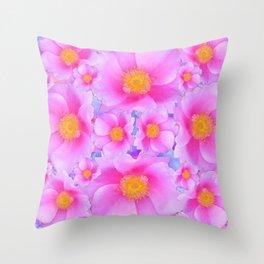 Fuchsia Pink Clustered Rose Garden Art Throw Pillow