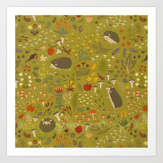 Hedgehog Meadow Art Print