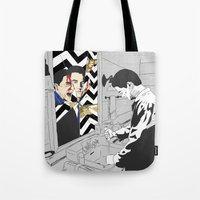 twin peaks Tote Bags featuring TWIN PEAKS by Pan and Scan