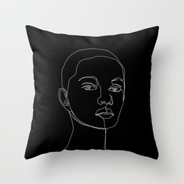 Face one line black and white illustration - Cody Throw Pillow