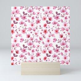 Cherry blossom flowers romantic spring pattern Mini Art Print
