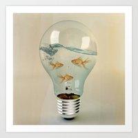 street Art Prints featuring ideas and goldfish 03 by Vin Zzep