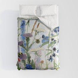 Wildflower in Garden Watercolor Flower Illustration Painting Comforters