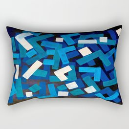 "Original Abstract Acrylic Painting by Ejaaz Haniff ""Blue Jazz"" Blue Geometric Colorful Pattern On Bl Rectangular Pillow"