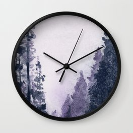 Misty forest road Wall Clock
