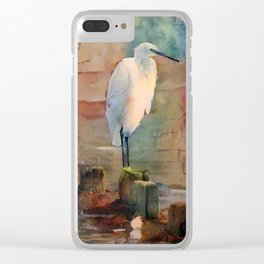 Snowy Egret Sunrise Clear iPhone Case