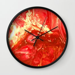 Fluid Nature - Fanning The Flames - Abstract Acrylic Artwork Wall Clock