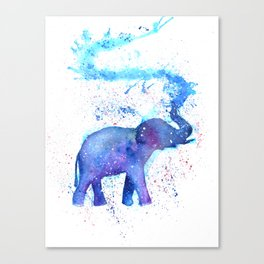 Silhouette Elephant Watercolor Canvas Print