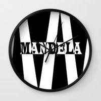 mandela Wall Clocks featuring Mandela tribute by Brian Raggatt