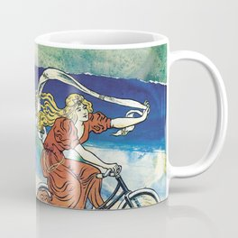 Bicycle girl by the sea Coffee Mug