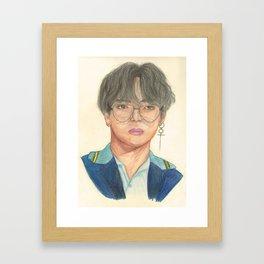 BTS Taehyung Colored-Pencils Portrait Framed Art Print