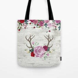 White Wood with Romance Flowers Tote Bag