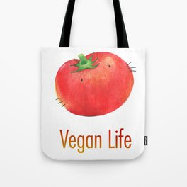Vegan Life happy tomato Tote Bag
