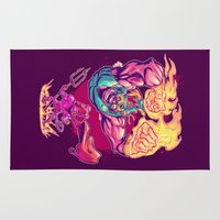 diablo Area & Throw Rugs featuring LUCHADORO VS EL DIABLO by BeastWreck