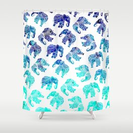 Boho turquoise blue ombre watercolor hand drawn mandala elephants pattern Shower Curtain