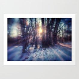Breaking Through light in the woods Art Print