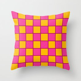 Bright Pink & Golden Yellow Chex 1 Throw Pillow