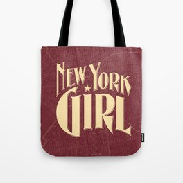 New York Girl BURGUNDY / Vintage typography redrawn and repurposed Tote Bag