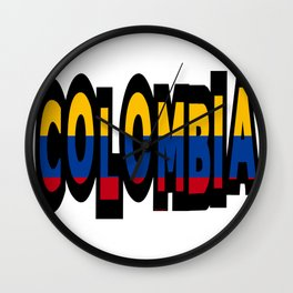 Colombia Font With Colombian Flag Wall Clock