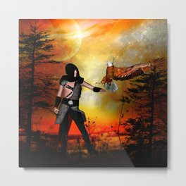 Eagle lands of the arm of the man Metal Print