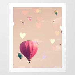 Hot air balloons nursery and heart bokeh on pale pink Art Print