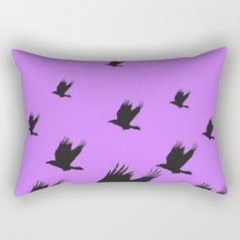 FLYING FLOCK BLACK CROWS/RAVENS ON LILAC COLOR Rectangular Pillow