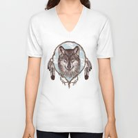 gray V-neck T-shirts featuring Gray Wolf by Rachel Caldwell