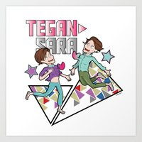 tegan and sara Art Prints featuring Tegan & Sara by nathan wellman