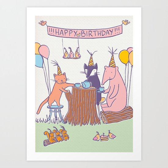 Birthday Tea Party Art Print