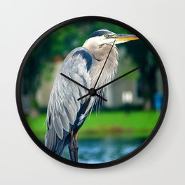 Great Blue Heron On Deck Wall Clock