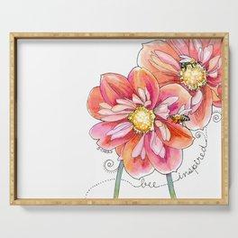 """bee inspired"" watercolor flower garden art Serving Tray"