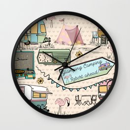 Vintage Glamping Camping Style Wall Clock
