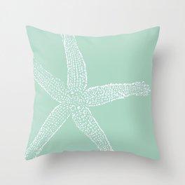 Starfish- white on sage Throw Pillow