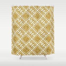 Gold Glitter Greek Pattern Shower Curtain