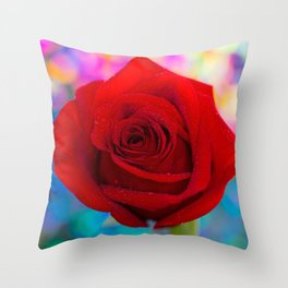 Red Rose and Rainbow Bokeh Throw Pillow
